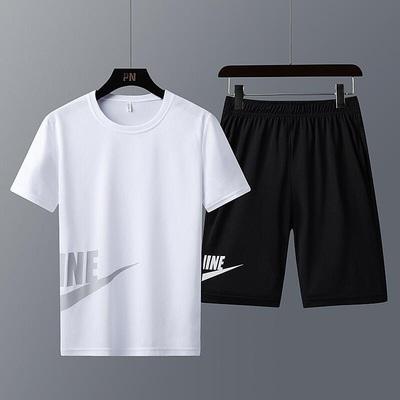 夏季男士短袖T恤休闲运动套装宽松时尚型男短裤两件套健身速干服