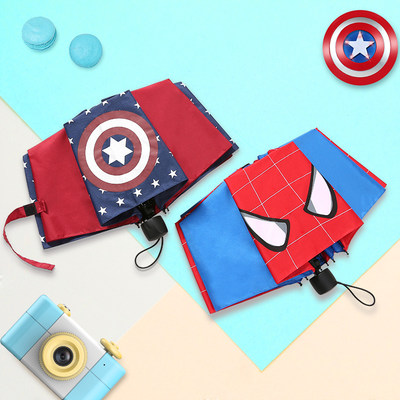 Children's umbrellas male and female pupils 6-12 automatic kindergarten boy baby ultralight folding cartoon spiderman