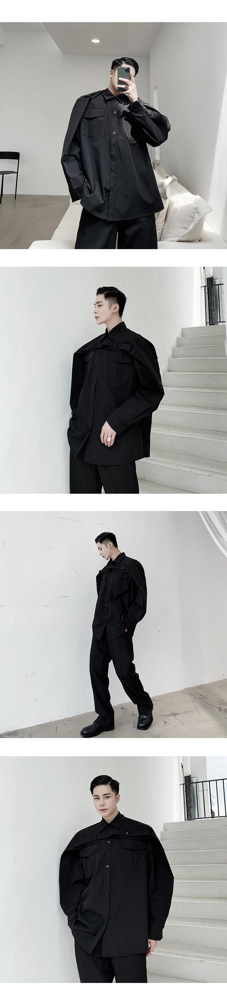 小眾男裝山本風暗黑系原創個性白襯衫男長袖綁帶二穿機能風寬松心機襯衣潮