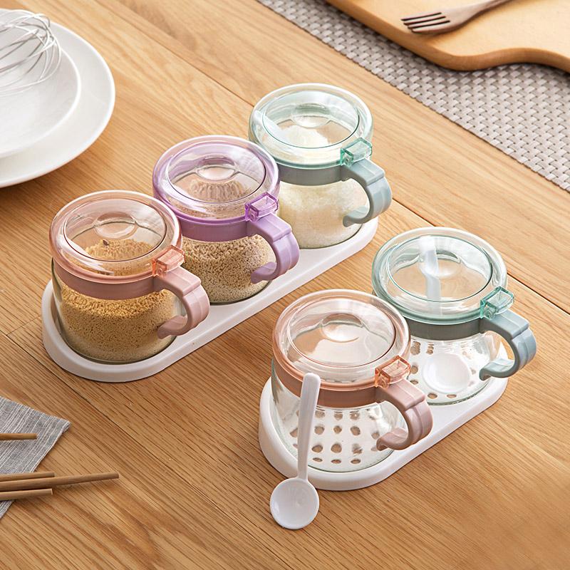 居家家家用调料瓶v家用玻璃罐套装厨房透明瓶罐调味罐盐罐调味调料