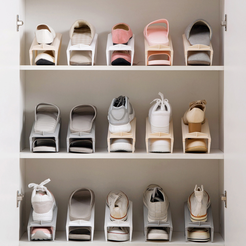 Charmant Home Double Decker Shoes Storage Rack Household Plastic Simple Shoe Holder  Space Shoe Bracket Living
