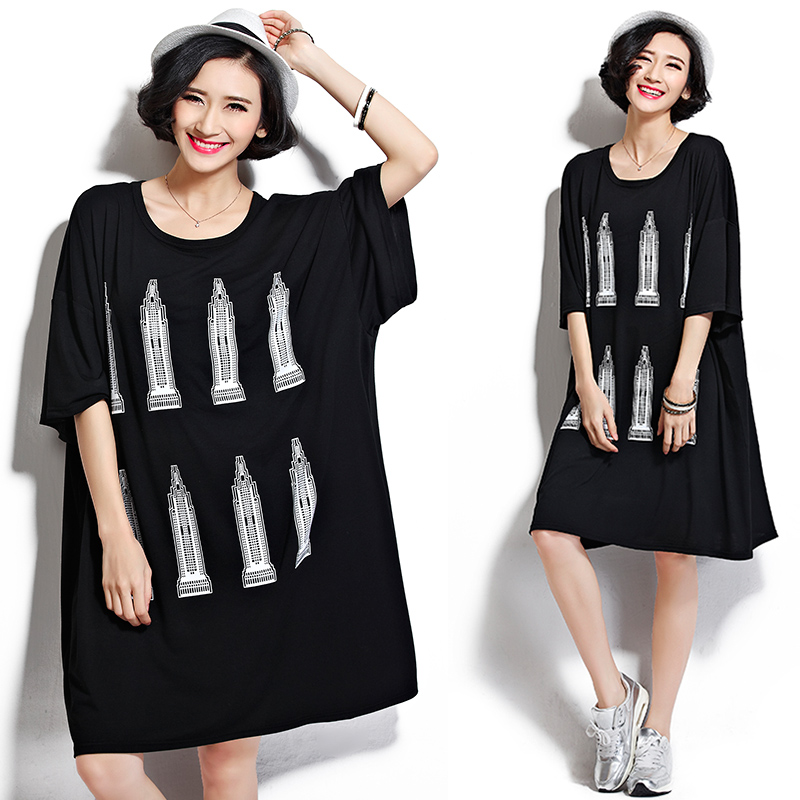 2019 Real Shot Large Size Women Loose Leisure Long Was Thin Short-Sleeve T-shirt Dress Good Fabric