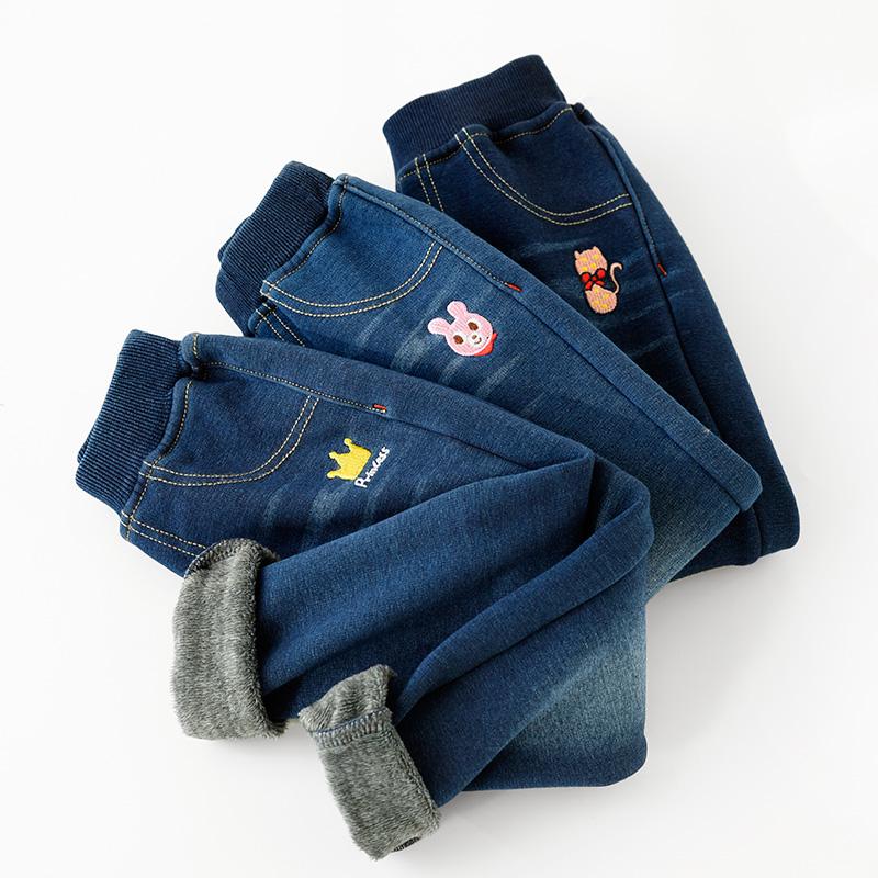 Trẻ em mềm mại và ấm áp cộng với quần jean giả nhung quần legging ấm mùa đông