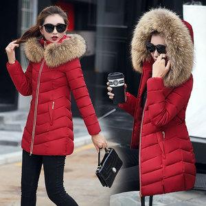 冬季韩版新款女式棉衣女中长款修身棉袄大毛领羽绒棉服外套女8805
