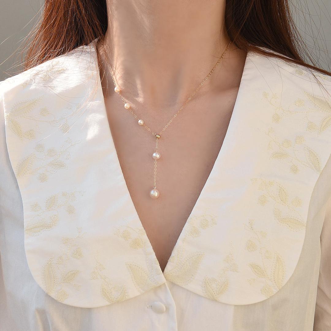 LEMON·原創珍珠Y形項鍊鎖骨脖子14K包金秋冬毛衣鍊簡約氣質高級感百搭女