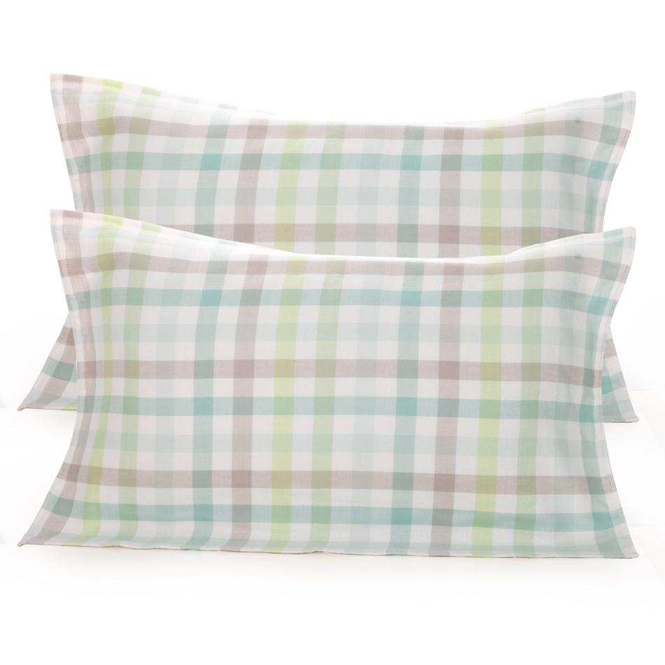 日本百年品牌,Uchino/內野 純棉紗布方格枕巾一對裝