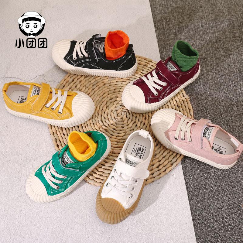 韩国饼干鞋儿童帆布鞋男童鞋子女童中大童韩版休闲布鞋春秋新款
