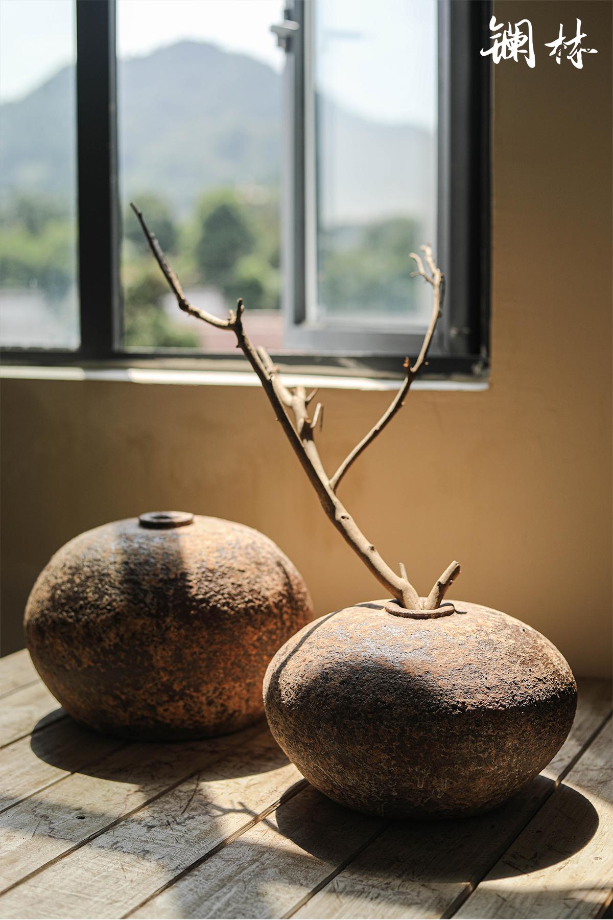 Ceramic vase wabi-sabi wind restoring ancient ways mesa coarse TaoHua creative ball clay indoor decorations home furnishing articles