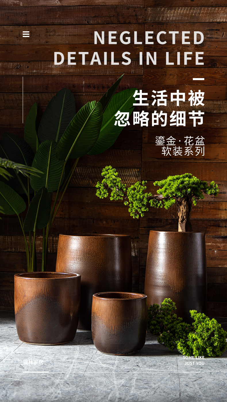 Retro ceramic flower pot home sitting room extra large hydroponic money plant wide expressions using Scandinavian simplicity vase combination package mail