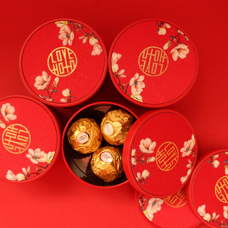 中国风红色马口铁喜糖盒子批发高档结婚喜糖礼盒成品含糖婚礼婚庆