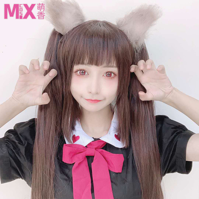 taobao agent Mengxiangjia Chocolate and Vanilla Catgirl Paradise Chocolate Cos Wig Black Brown Double Ponytail Long Hair