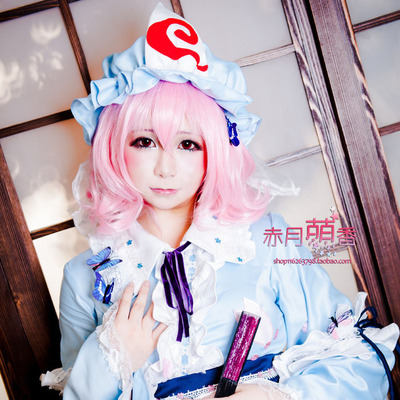 taobao agent Mengxiangjia Oriental Project Xihangji Yuyuko Pink Short Curly Hair Cosplay Wig