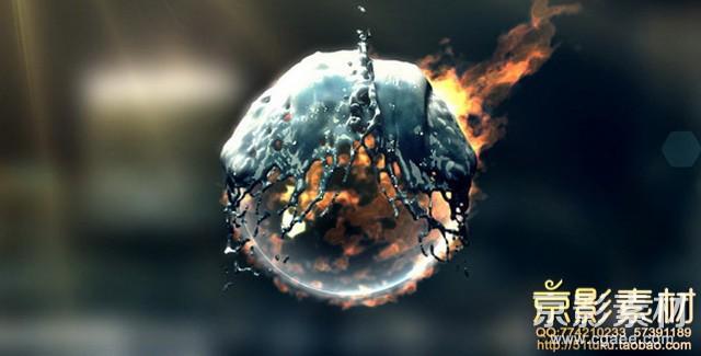 AE模板-水火相融logo演绎片头Fire & Water Logo