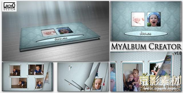 AE模板-儿童成长过程相册图片翻页展示片头-My Album Creator