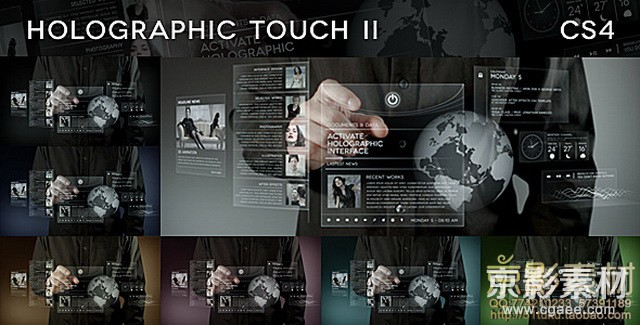 AE模板-科技风格全息触摸屏展示 Holographic Touch II
