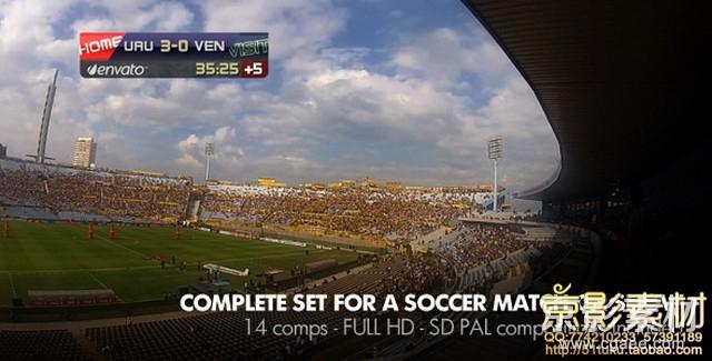 AE模板-足球现场直播栏目包装片头 Live Soccer Broadcast