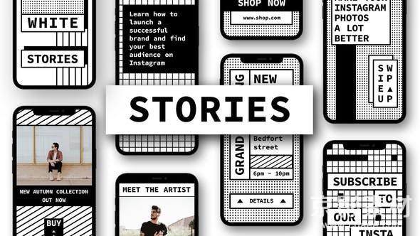 AE模板-手机端视频标题动画展示片头 Stories 25020758