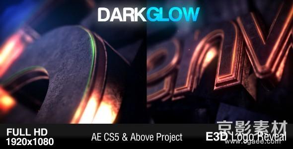 AE模板-震撼三维发光logo演绎片头Dark Glow Logo Reveal