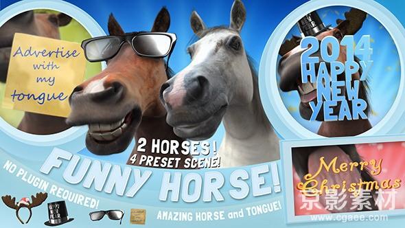 AE模板-可爱有趣的马展示Logo标志的片头 Funny Horse Opener