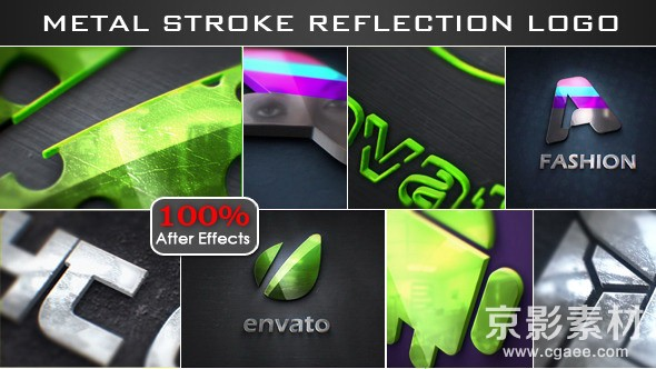 AE模板-线描金属反射logo演绎动画片头 Stroke Metal Reflection Logo