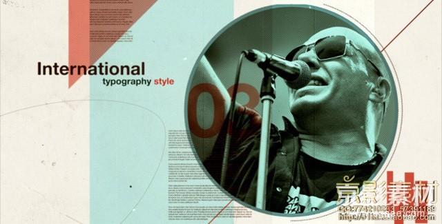 AE模板-复古怀旧闪动画面效果片头 International Typography