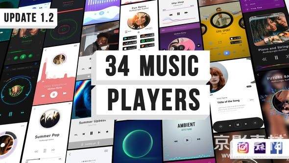 AE模板-音乐可视化播放器动画片头 Music Visualization Players for Instagram Story