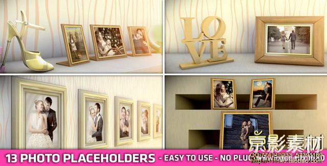 AE模板-浪漫爱情图片相册照片墙展示片头 Romantic Frames