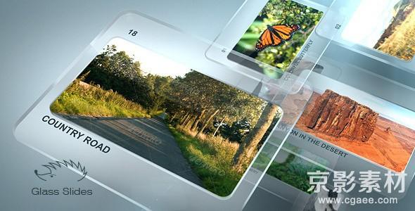 AE模板-时尚玻璃质感幻灯片展示片头 Glass Slides