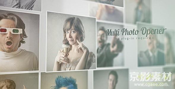 AE模板-众多图片汇聚照片墙片头 Multi Photo Opener