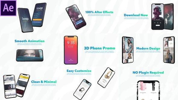 AE模板-三维智能手机界面APP演示动画片头3D Smartphone Presentation for After Effects