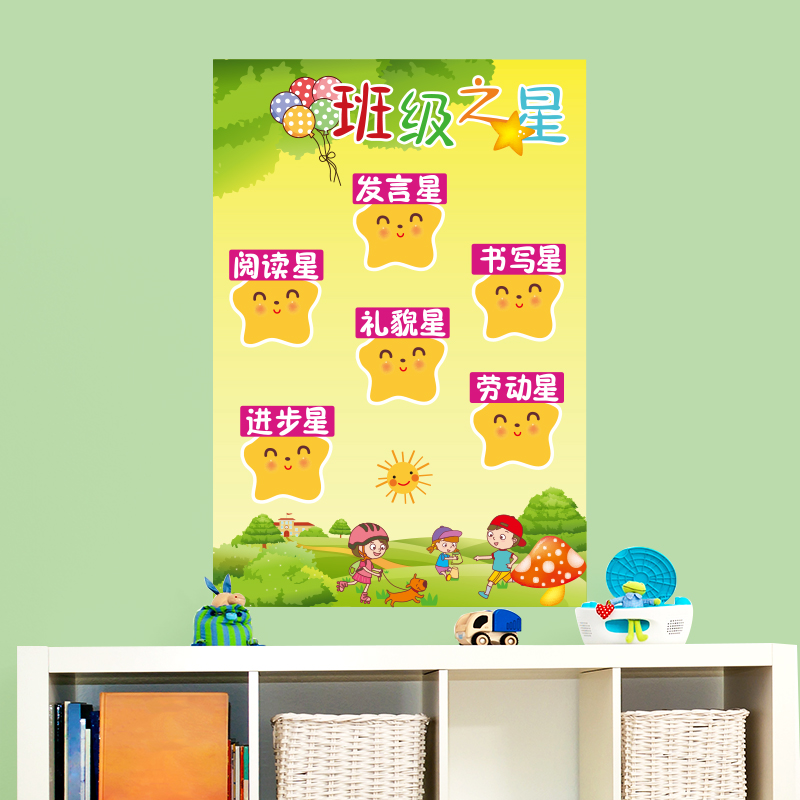 Primary School kindergarten classroom classroom culture wall decoration  wall stickers class convention class regulation stickers bulletin board