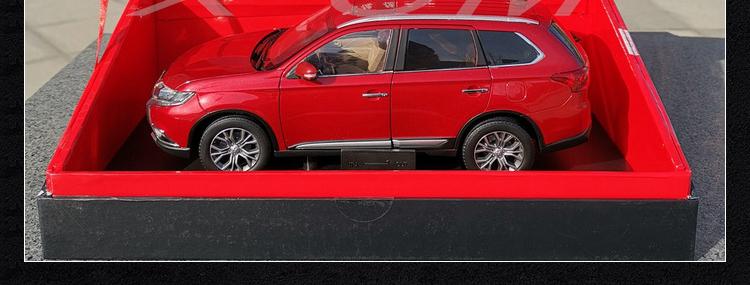 車型模具 車模型 玩具  免運廣汽三菱 原廠 歐藍德 OUTLANDER 越野SUV 汽車模型 1:18 帶底座