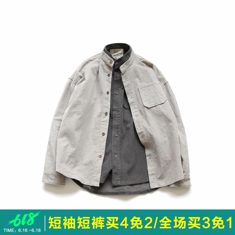 原创日系男装春季新款立领衬衫宽松灯芯绒v男装青年韩版衬衣纯色