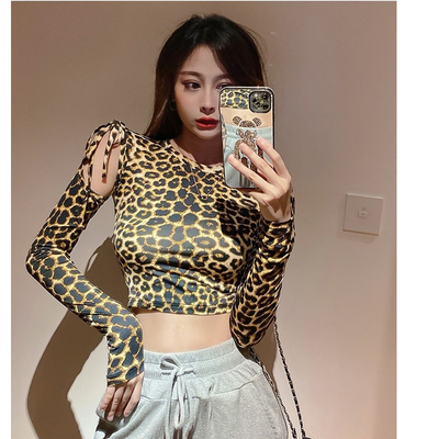 Latin dance tops ballroom dance top long sleeve dance dress leopard print off shoulder Training Dress Dance Practice women top