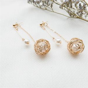 81066#新款時尚金屬毛線球珍珠耳釘 創意款ins簡約珍珠...