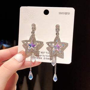 68067#925銀針長款星星流蘇耳環女韓國簡約水晶耳墜五角...
