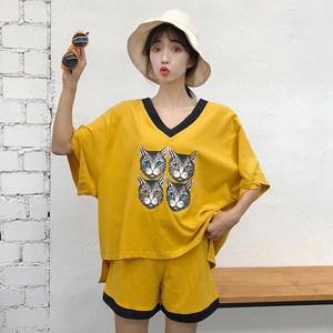 8390#实拍2018新款港味套装女夏休闲俏皮v领短袖+短裤...