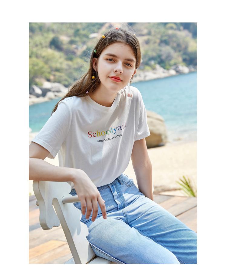 秋水伊人T恤字母圆领直筒版型2019夏装新款女装短袖上衣女