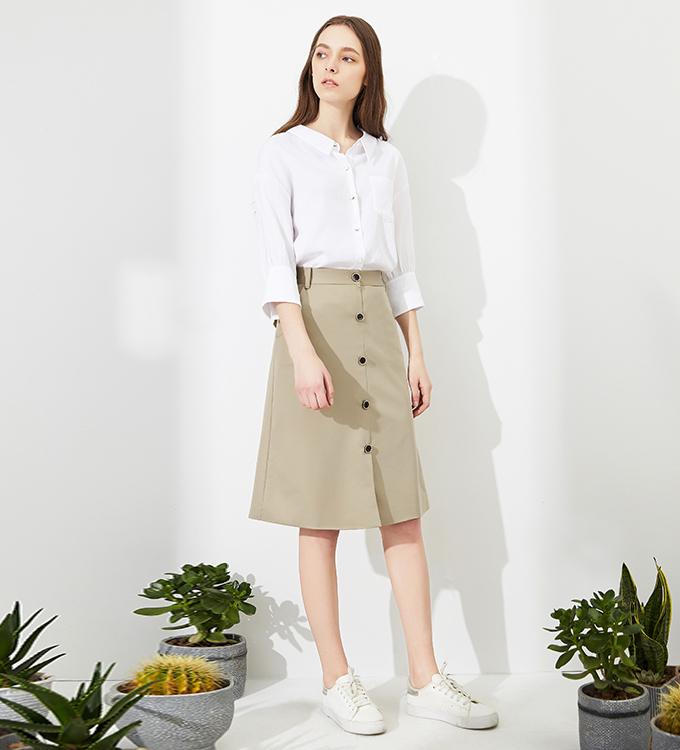 秋水伊人2017夏新品女装纯色百搭舒适简约直筒七分袖衬衫上衣女