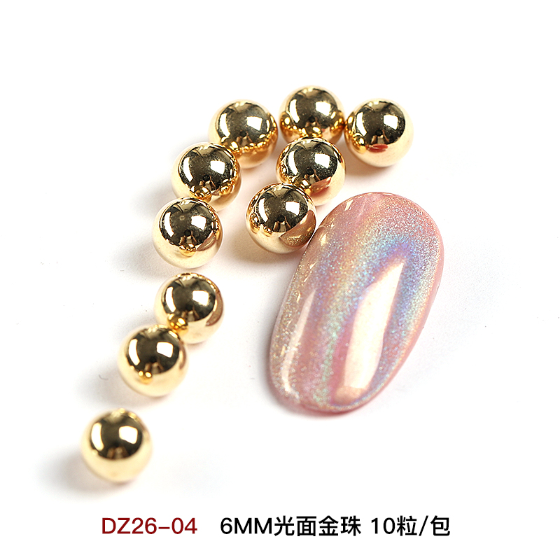 6MM GLOSSY GOLD BEADS 10 CAPSULES / BAG