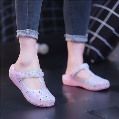2020印花洞洞鞋女凉拖鞋夏季女士果冻沙滩鞋防滑防水包头塑料凉拖