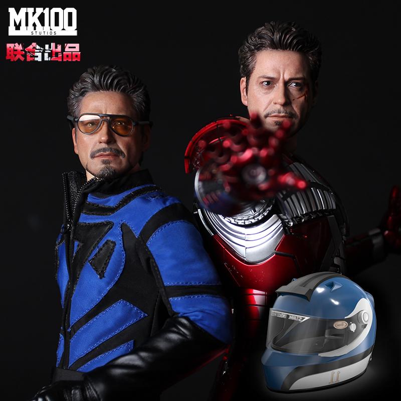 【MK100】出品1:6钢铁侠托尼Mk5模型人偶赛车服兵人服装赛车头盔
