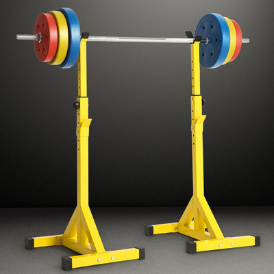 Square rack home simple split barbell shelf professional bench pusher barbell set yellow weightlifting bed fitness equipment