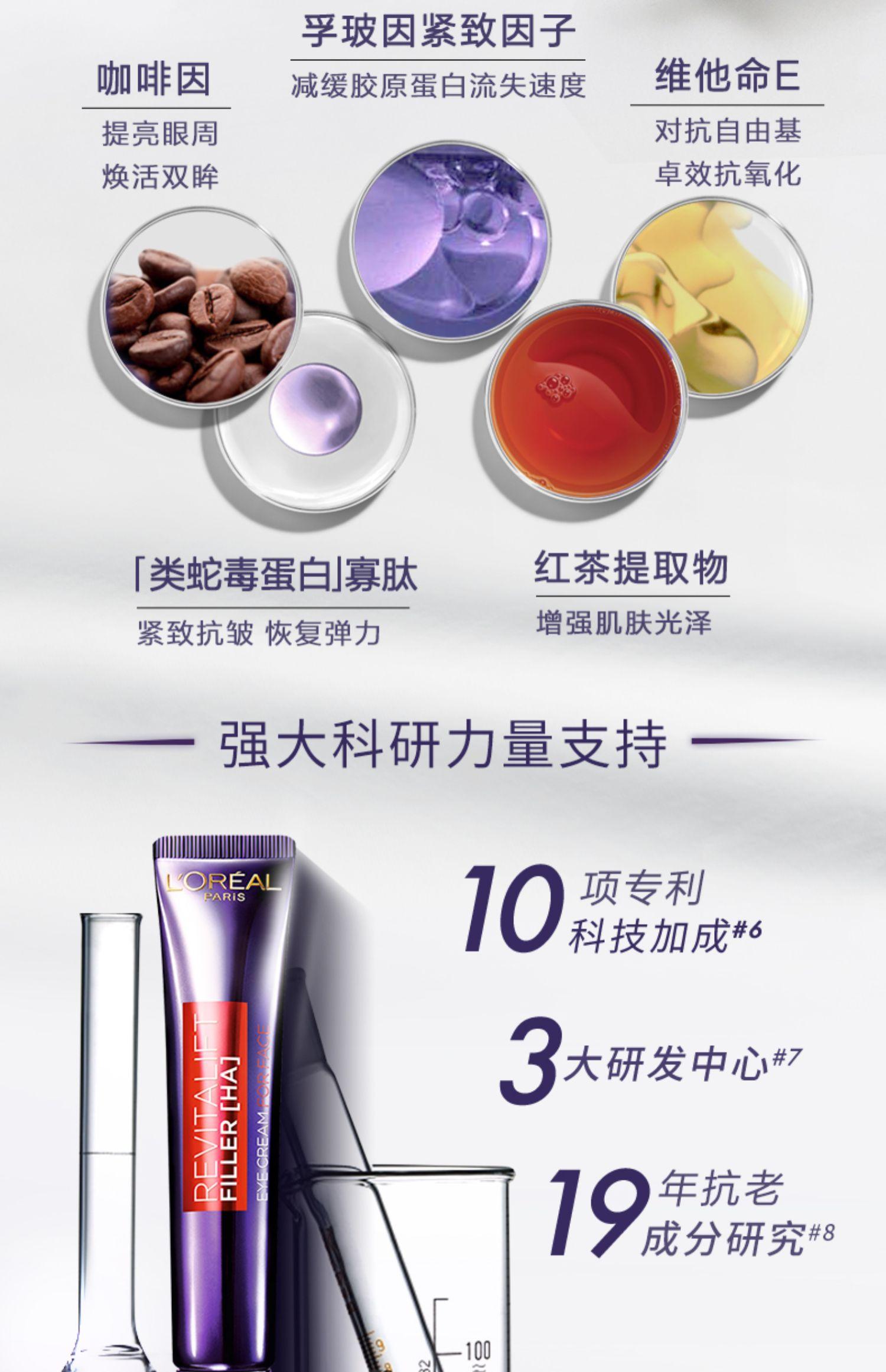 欧莱雅紫熨斗眼霜玻色因保湿补水抗皱提拉