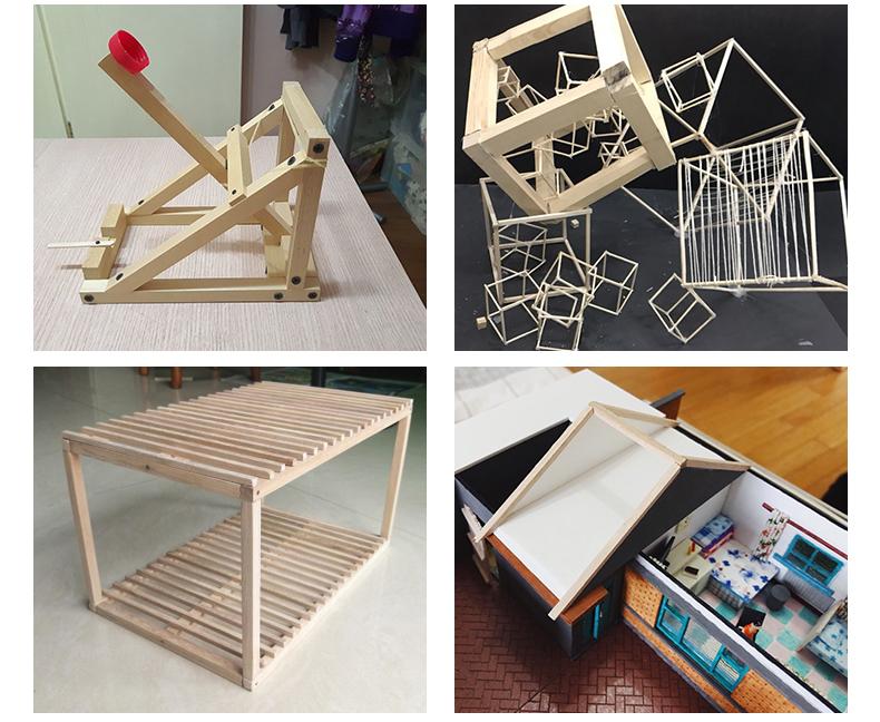 吉吉模型 建筑沙盘模型材料 小木方 木板条 方棒 实木方 白木 1个