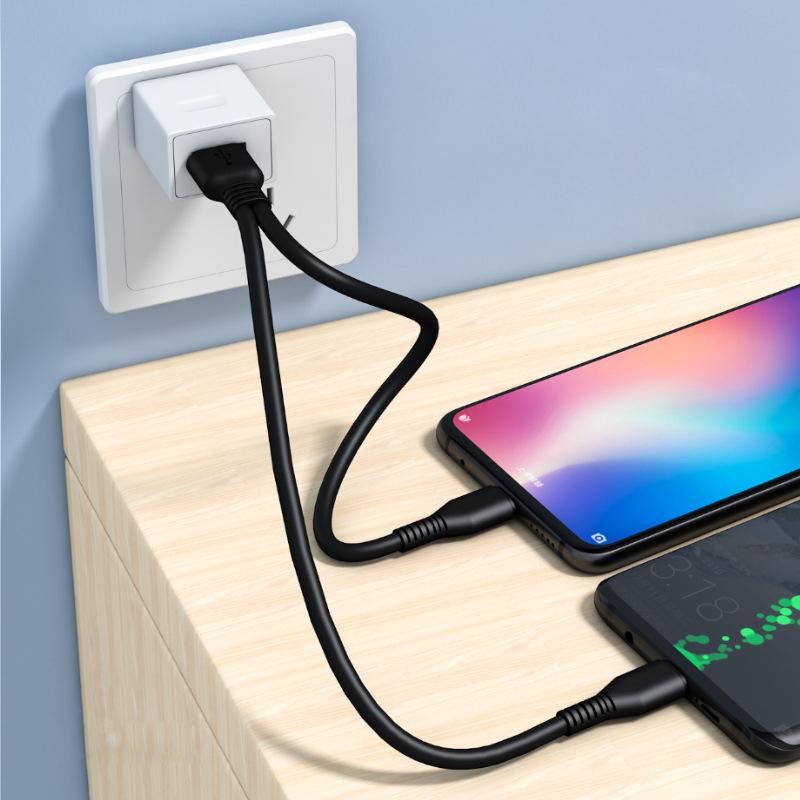 短款便携0.2/1米加长分线一拖二合一充电宝充电线适用苹果iPhone12安卓vivo三星小米华为Type C多功能数据线
