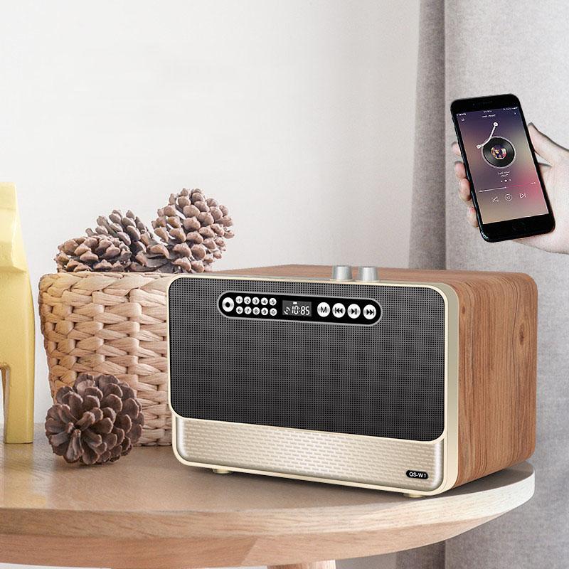 木质蓝牙音箱大功率重低音炮插U盘插卡话筒K歌音响HiFi音质收音机