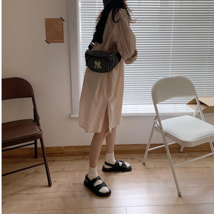 中國代購|中國批發-ibuy99|罗马凉鞋女2020夏新款港味原宿风露趾拖鞋复古简约女外穿一字拖潮