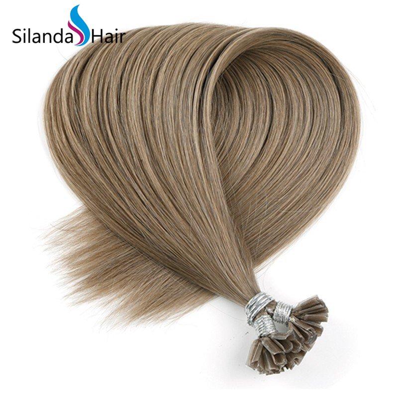 Silanda Hair #10A Straight Remy Nail Tip U Tip Keratin Human Hair Extensions
