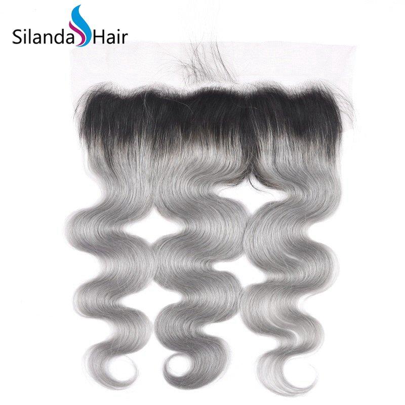#T 1B/Grey Top Grade Remy Human Hair 13